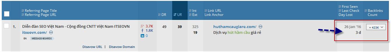 Tham gia backlink tại ITSEOVN sau 2 tháng kiểm tra lượng backlink