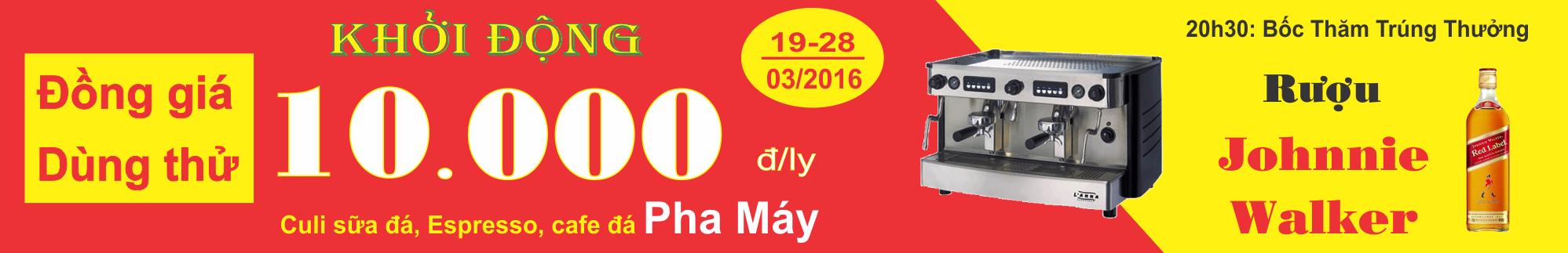 Băng rôn khởi động dùng thử Cafe Pha Máy 44 Nguyễn Cửu Đàm