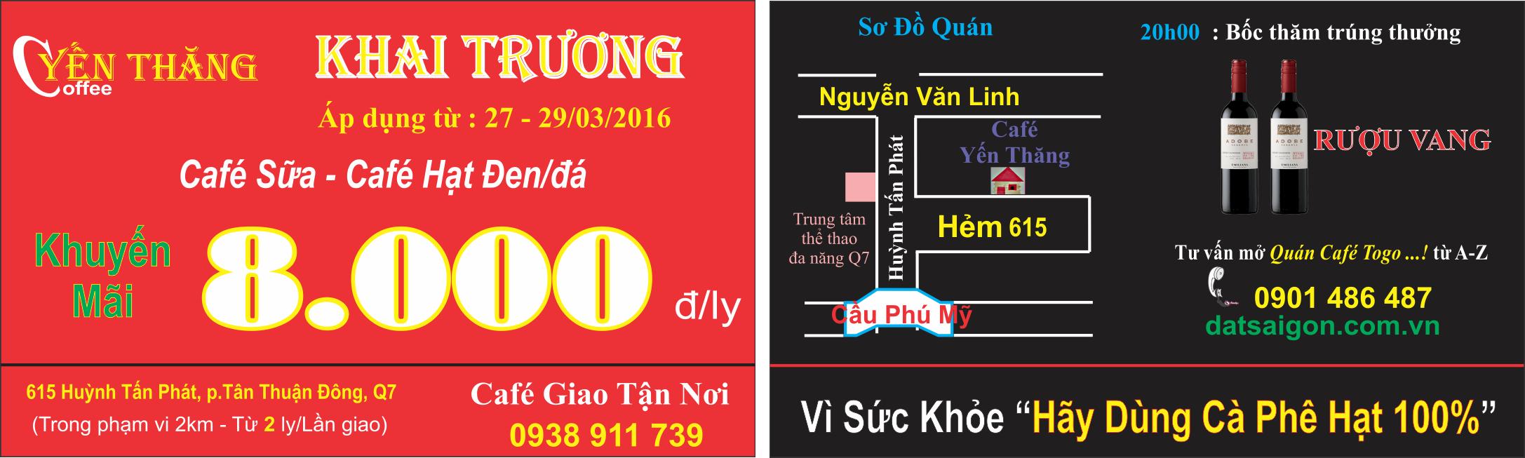 Card khai trương cafe Yến Thăng tại Huỳnh Tấn Phát Quận 7