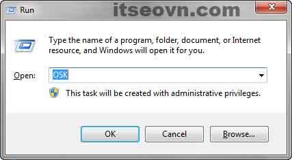 Gõ OSK và ấn OK để mở bàn phím ảo