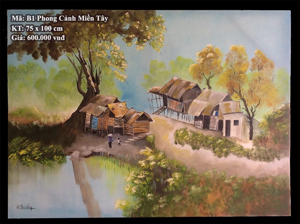Tranh sơn dầu B1 Phong Cảnh Miền Tây - Phạm Văn Thưởng