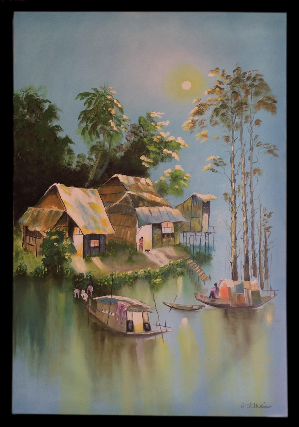 Tranh sơn dầu B2 Phong Cảnh Miền Tây - Phạm Văn Thưởng